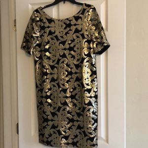 NWT, The Limited black and gold sequin dress